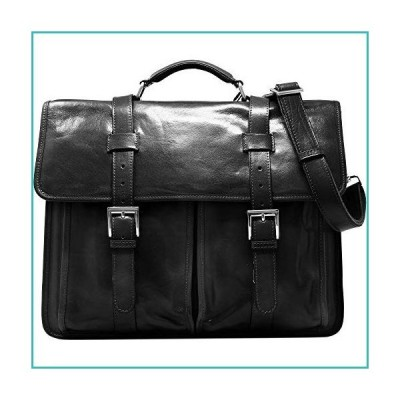 Floto Firenze Leather Buckle Strap Briefcase Bag - 2 Gusset … (Black)【並行輸入品】
