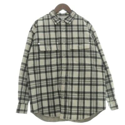 【11月30日値下】ALLEGE 「FLANNEL QUILTING CHECK SHIRT」フランネルキルティングチェックシャツ ホワイト サイズ: