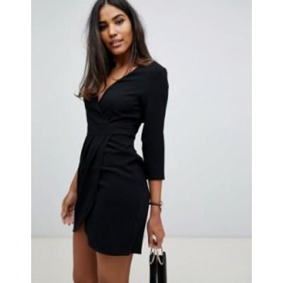 エイソス レディース ワンピース トップス ASOS DESIGN mini dress with wrap skirt Black
