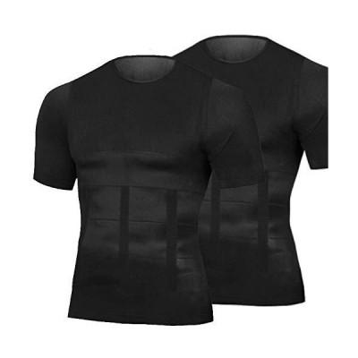 【BomberRabbit】加圧シャツ 加圧インナー メンズ レディース 脂肪燃焼 インナーシャツ 2枚組 姿勢矯正 背筋 猫背 トレーニング 半袖  (黒, M)