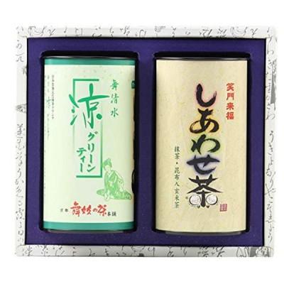 舞妓の茶本舗 グリーンティ400g缶 しあわせ茶180g缶詰合せ SU-7 8007
