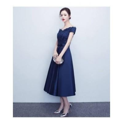 上品 刺繍 オフショル ミモレ丈 結婚式 パーティー ドレス 2色