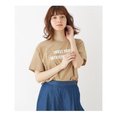 キューティーブロンド Cutie Blonde 【S-L/洗える/抗菌防臭/部屋干し対応】フロントロゴスリットTシャツ (ベージュ)