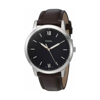 腕時計 フォッシル メンズ Fossil FS5464 Men's Minimalist 44mm Black Dial Brown Leather Watch