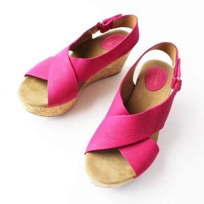 Clarks クラークス Caslynn Shae キャスリンシー コルクソール サンダル 24.5/ピンク 靴 くつ ウェッジソール 2400011815897