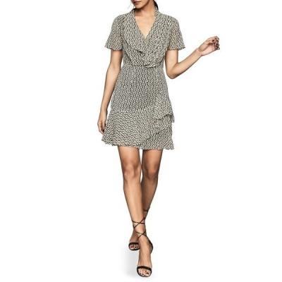 レイス レディース ワンピース トップス Paris Print Ruffle Detail Short Sleeve Dress BLACK