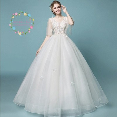 ウェディングドレス 安い 結婚式 白 ブライダル ドレス 花嫁 プリンセスラインドレス ロング ウエディングドレス 披露宴 二次会 パーティードレス