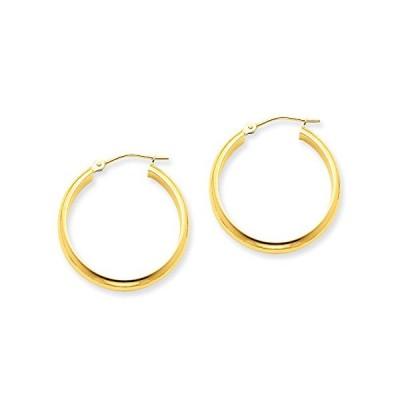 3.75mm x 25mm ポリッシュ 14K イエロー ゴールド ドーム ラウンド チューブ フープ Earrings(海外取寄せ品)