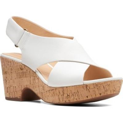 クラークス レディース サンダル シューズ Maritsa Lara Platform Sandal White Leather