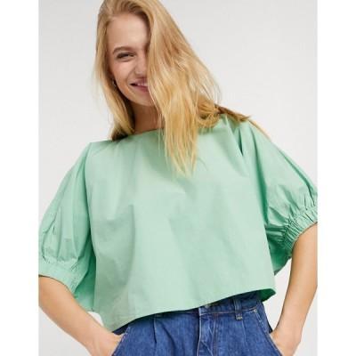 ウィークデイ レディース シャツ トップス Weekday Cece organic cotton cropped balloon sleeve blouse in sage green Sage green