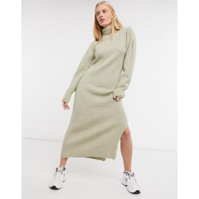 エイソス ASOS DESIGN レディース ワンピース ミドル丈 ワンピース・ドレス knitted midi dress with puff shoulder detail in beige ベージュ