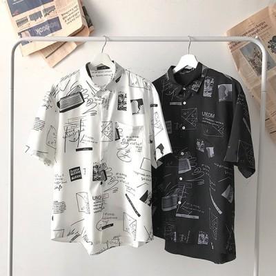 5分袖 薄手 落書き カジュアルシャツ 耐摩耗 吸汗透湿素材 メンズ