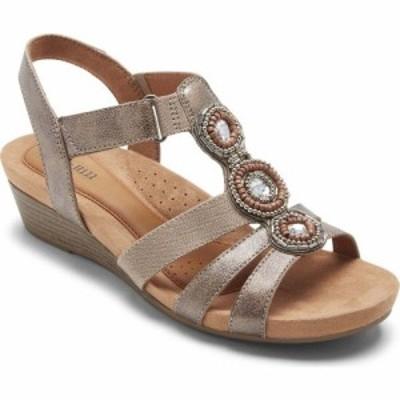 ロックポート ROCKPORT COBB HILL レディース サンダル・ミュール シューズ・靴 Hollywood T-Strap Sandal White/Metallic Leather