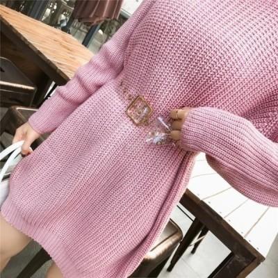 ニットワンピース(ピンク) トップス 冬 秋物 レディース 服 大人