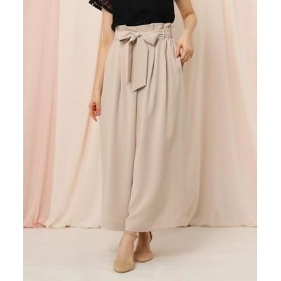 Couture Brooch/クチュールブローチ 【WEB限定サイズ(LL)あり/洗える】リボンベルトガウチョパンツ ライトベージュ(051) 36(S)