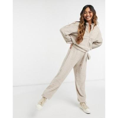 エイソス レディース ワンピース トップス ASOS DESIGN zip front all in one fluffy jumpsuit in taupe
