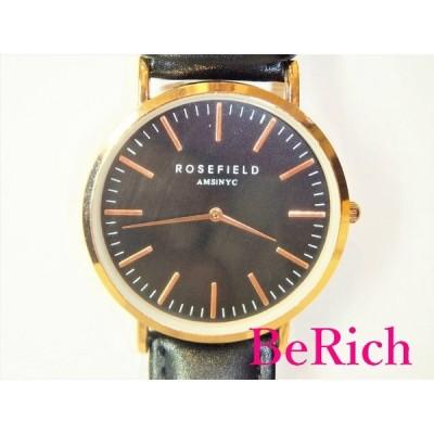 ローズフィールド ROSEFIELD ボーイズ 腕時計 黒 ブラック 文字盤 SS レザー ブレス アナログ クォーツ ユニセックス【中古】ht2950