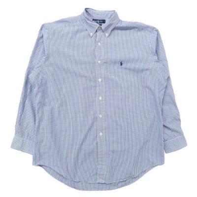 ラルフローレン Ralph Lauren ボタンダウンシャツ チェック 長袖 ブルー ホワイト サイズ表記:161/2