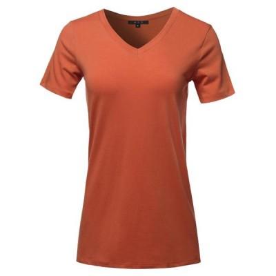 レディース 衣類 トップス A2Y Women's Basic Solid Premium Cotton Short Sleeve V-neck T Shirt Tee Tops Copper S ブラウス&シャツ