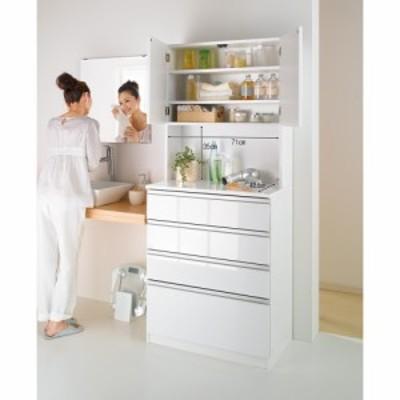 家具 収納 トイレ収納 洗面所収納 水回りでも安心の光沢洗面所チェスト 扉付きハイタイプ・幅44.5cm 590135