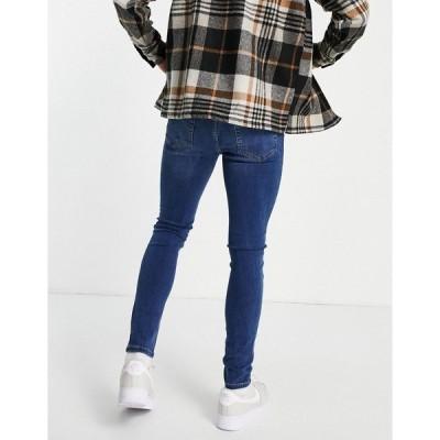 ニュールック メンズ デニムパンツ ボトムス New Look super skinny jeans in mid blue Blues