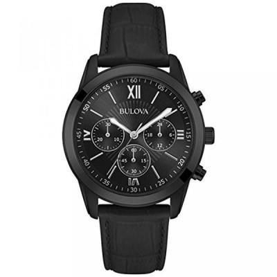 ブローバ 腕時計 メンズウォッチ Bulova 98A152 Men's Classic Chronograph Black Dial Black Leather Strap Quartz Watch