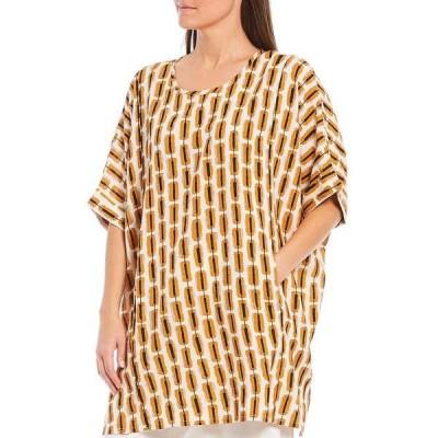 マサイ レディース カットソー トップス Galene Elbow Sleeve Oversized Long Tunic Inca Gold