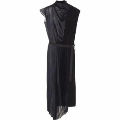 サカイ Sacai レディース パーティードレス ミドル丈 ワンピース・ドレス satin belted midi dress Black