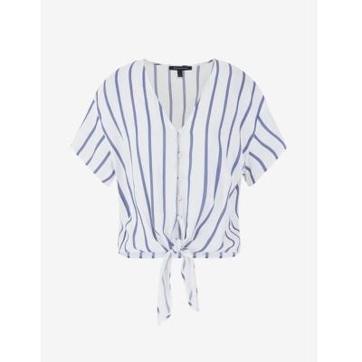 シャツ ブラウス 【A|Xアルマーニ エクスチェンジ】ウエストリボン ストライプ柄半袖シャツ