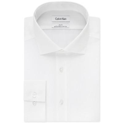 カルバンクライン シャツ トップス メンズ Men's Slim-Fit Non-Iron Performance Spread Collar Herringbone Dress Shirt White