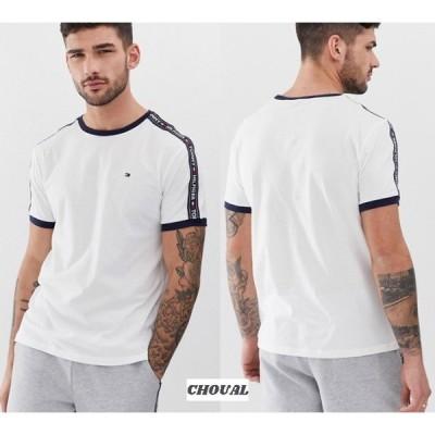 Tommy Hilfiger サイドテーピング ラウンジtシャツ ホワイト 半袖 送料無料