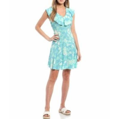 カルバンクライン レディース ワンピース トップス Sleeveless Ruffle Trapeze Dress Mykonos Multi
