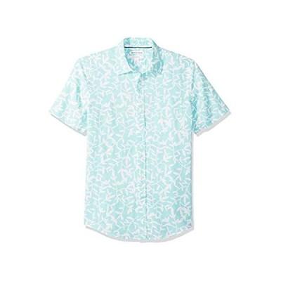[  Essentials] Slim-fit Short-sleeve Linen Shirt メンズ アクアリーフプリント L