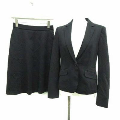 【中古】クミキョク 組曲 KUMIKYOKU 20SS スーツ セットアップ 上下 ジャケット スカート ひざ丈 2 紺 レディース
