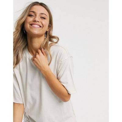 エイソス ASOS DESIGN レディース Tシャツ トップス super oversized t-shirt in washed stone ベージュ