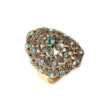 YAZILIND Exaggerated Ring Hollow Sculpture Blue Gemstone Rings Retro Vintage Jewelry Women Birthday Gift(Size 10)【並行輸入品】