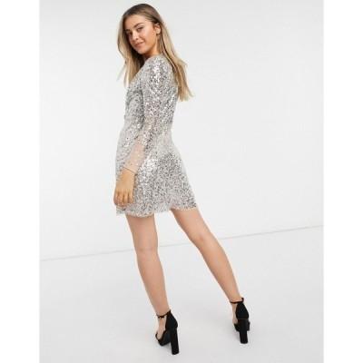 フレンチコネクション レディース ワンピース トップス French Connection embellished v-neck mini dress in gray Gunmetal gray