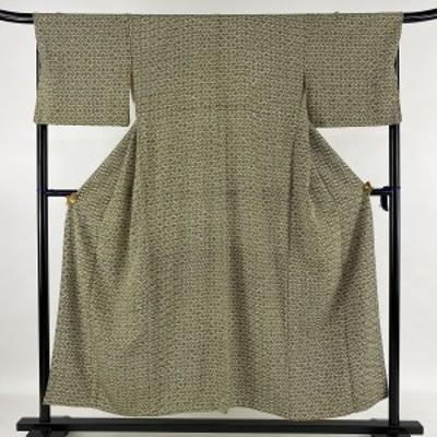 小紋 優品 幾何学 緑 袷 身丈153cm 裄丈67cm M 正絹 中古