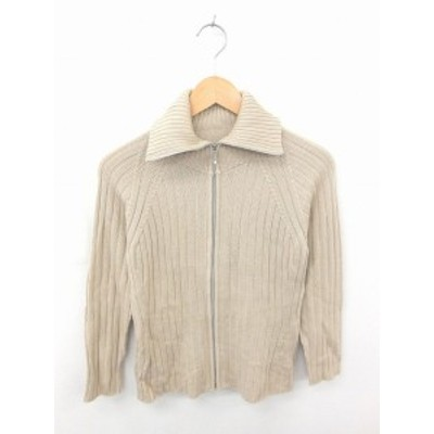 【中古】アナイ ANAYI ジャケット アウター ニット ジップアップ 無地 シンプル ウール 長袖 38 薄茶 ベージュ /TT51
