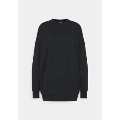 エブンアンドオッド レディース パーカー・スウェットシャツ アウター Long Oversize crew neck - Sweatshirt - black black