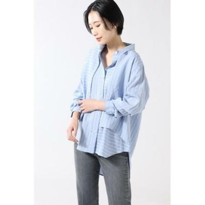 ROSE BUD/ローズ バッド パネルストライプシャツ ブルー -