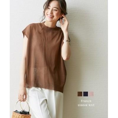 セーター ニット レディース ほどよい透け感 可愛い フレンチスリーブ スモーキーピンク/ネイビー/ブラウン M/L ニッセン