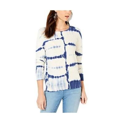 INC International Concepts Women's Cotton Tie-Dye Sweater, X-Large, Blue並行輸