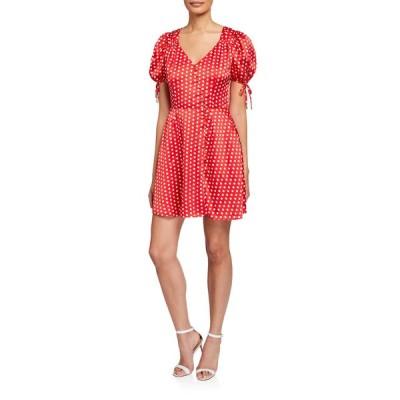 エリアット レディース ワンピース トップス Mona Polka Dot V-Neck Short-Sleeve Dress