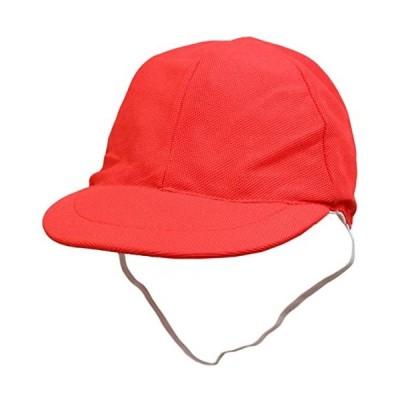 紅白帽子-メッシュ-つば付き帽子-ネームタグ付き-赤白帽子