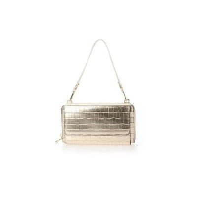 カシュカシュ cache cache メタリッククロコ型押しお財布ショルダーバッグ (ゴールド)