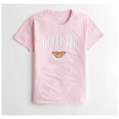 ホリスター  Hollister レディース Tシャツ ★6750、6751 Applique Logo Graphic Tee ピンク