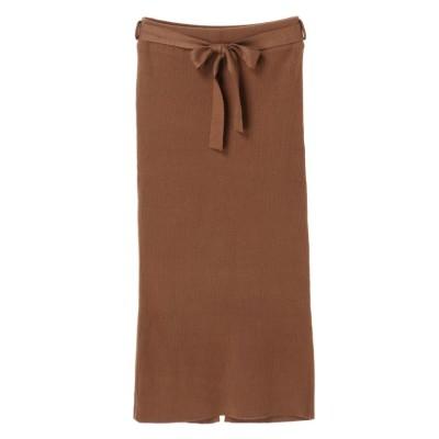 【デュラス】 ウエストリボン付スリット入りスカート レディース ブラウン FREE DURAS