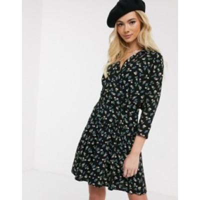 エイソス レディース ワンピース トップス ASOS DESIGN casual wrap mini tea dress in ditsy floral print Dark based ditsy flo