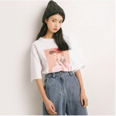 LAZA レディース ビッグT フォトプリント Tシャツ 白 (photo:ピンク)